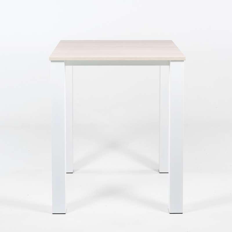 Table haute de cuisine carr e en m tal et stratifi - Table bar carree ...