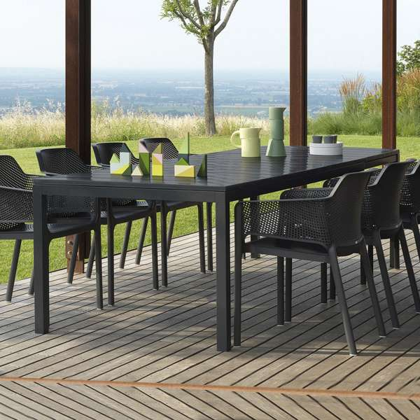 Table de jardin extensible pied central salon de jardin - Table de jardin extensible plateau verre ...