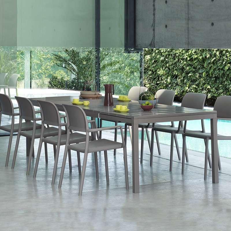 table de jardin extensible en polypropyl 232 ne dureltop et aluminium 4 pieds