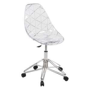 Chaise design sur roulettes coque transparente et métal - Prisma