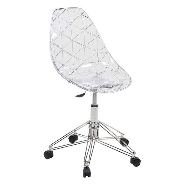 Chaise dactylo transparente design avec roulettes et pied en métal chromé - Prisma
