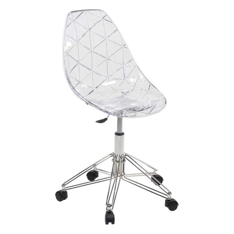 chaise de bureau design sur roulettes coque transparente et pied en mtal chrom prisma - Chaise Transparente Design
