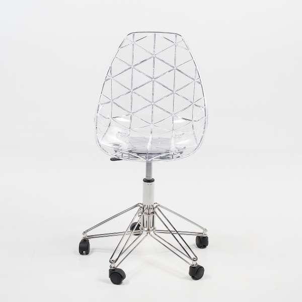 Chaise sur roulettes coque transparente et métal - Prisma - 2