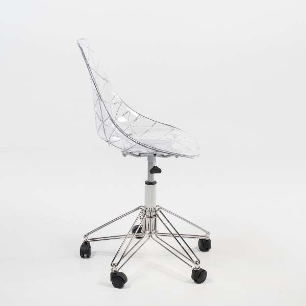 Chaise design à roulettes coque transparente et métal - Prisma - 3