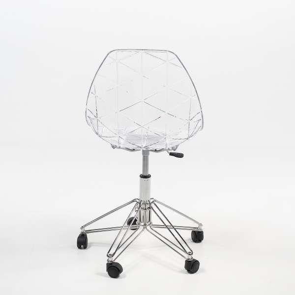 Chaise à roulettes coque transparente et métal - Prisma - 4