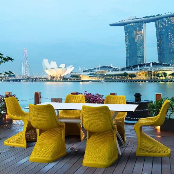 Chaise design en polypropylène jaune ajouré - Bloom - 8