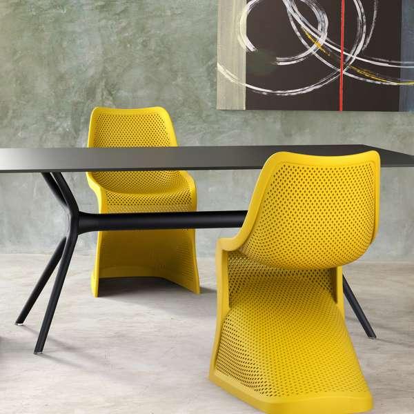 Chaise design en plastique jaune ajouré - Bloom - 9