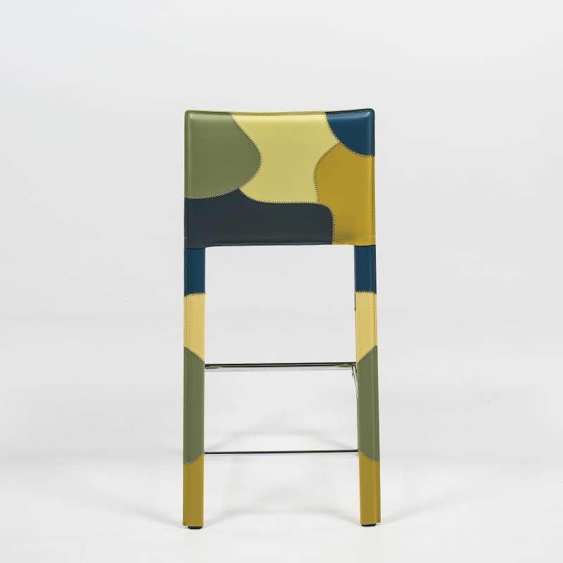 Tabouret Moderne En Croûte De Cuir - Patchwork | 4 Pieds : Tables