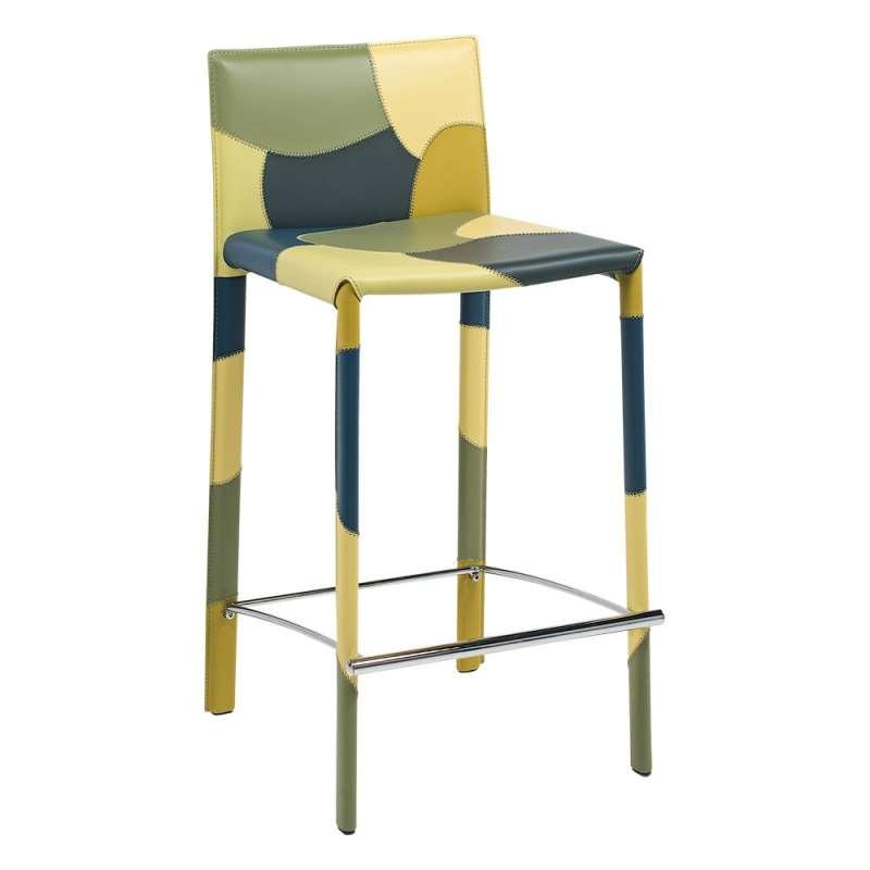 tabouret moderne en cro te de cuir patchwork 4. Black Bedroom Furniture Sets. Home Design Ideas