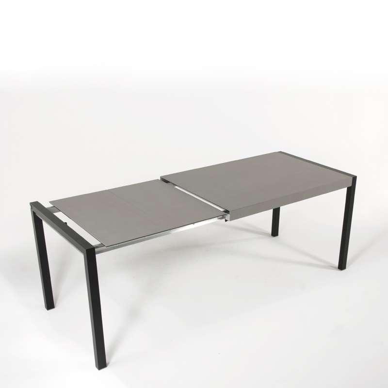 table en c ramique extensible concept m tal 4 pieds. Black Bedroom Furniture Sets. Home Design Ideas