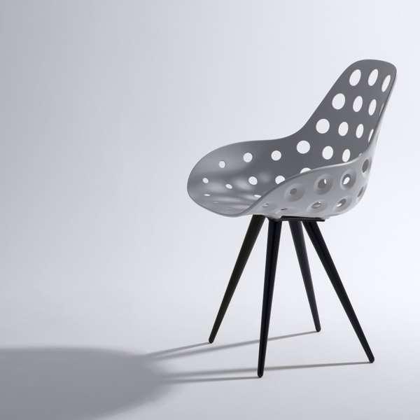 Chaise Design En Polypropylne Ajour Avec Coussin Et Mtal Noir