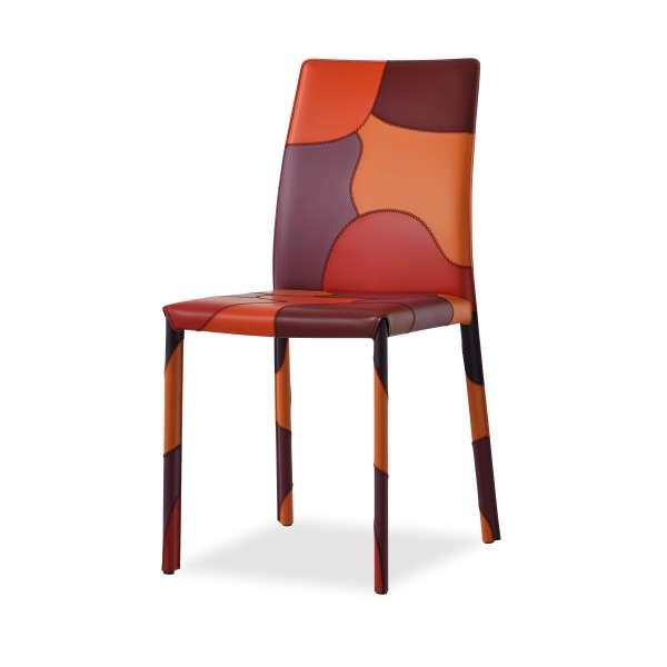 Chaise de séjour multicolore en croûte de cuir - Patchwork