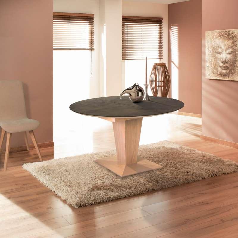 Table ronde moderne extensible en c ramique et bois philae 4 pieds tables chaises et - Table ceramique pied central ...