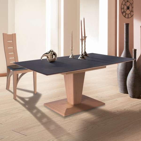 table moderne rectangulaire extensible en c ramique et bois philae 4 pieds tables chaises. Black Bedroom Furniture Sets. Home Design Ideas