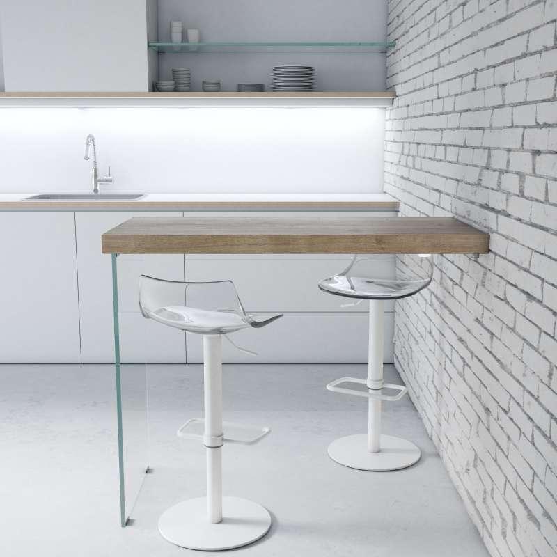 Table snack murale en stratifi avec pied verre fix 4 - Fixer un plan de travail cuisine ...