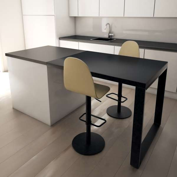 table snack murale en c ramique avec pied m tal fix 4. Black Bedroom Furniture Sets. Home Design Ideas