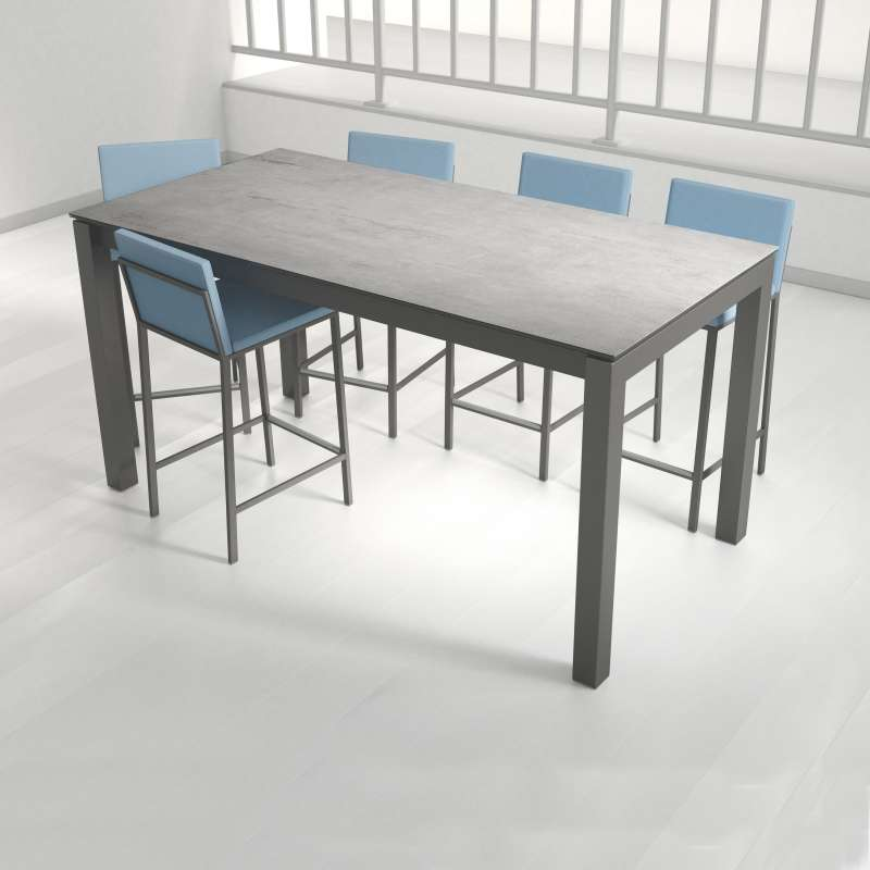 Table snack extensible en c ramique et m tal coma bar for Table extensible 4 chaises