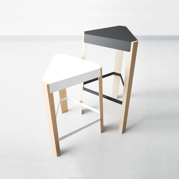 tabouret snack design sans dossier en m tal et bois podio 4. Black Bedroom Furniture Sets. Home Design Ideas