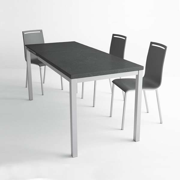 table de cuisine en c ramique avec rallonge hauteur 75 cm toy m tal 4 pieds tables. Black Bedroom Furniture Sets. Home Design Ideas