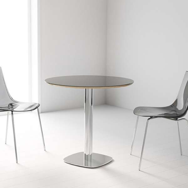 Table de cuisine ronde en verre petit espace circus 4 - Table de cuisine ronde en verre pied central ...