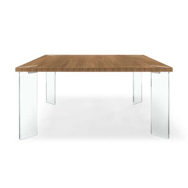 Table carrée design en mélaminé et verre - Concrete