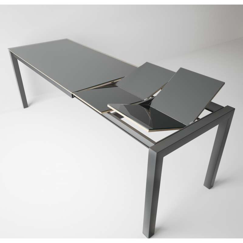Table snack moderne extensible en verre et m tal coma for Table extensible 4 metres