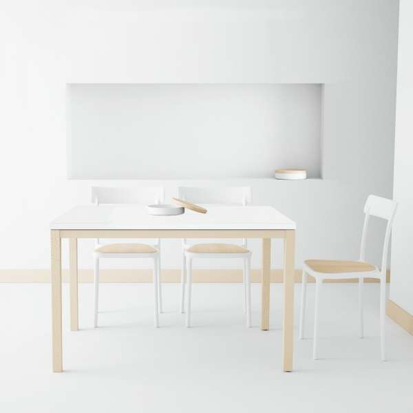 table de cuisine en c ramique avec rallonge toy bois 4. Black Bedroom Furniture Sets. Home Design Ideas