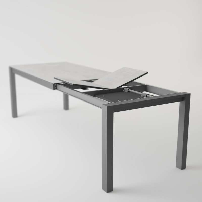 Table moderne en c ramique extensible quadra 4 pieds for Table extensible 4 chaises