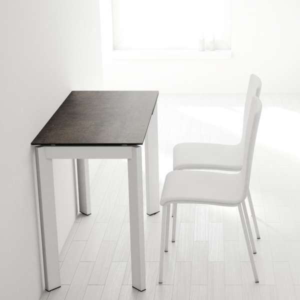 table petit espace extensible en c ramique poker 4. Black Bedroom Furniture Sets. Home Design Ideas