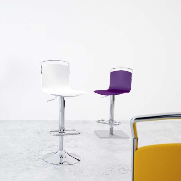 tabouret design r glable et pivotant m tal chrom et bois win 4. Black Bedroom Furniture Sets. Home Design Ideas