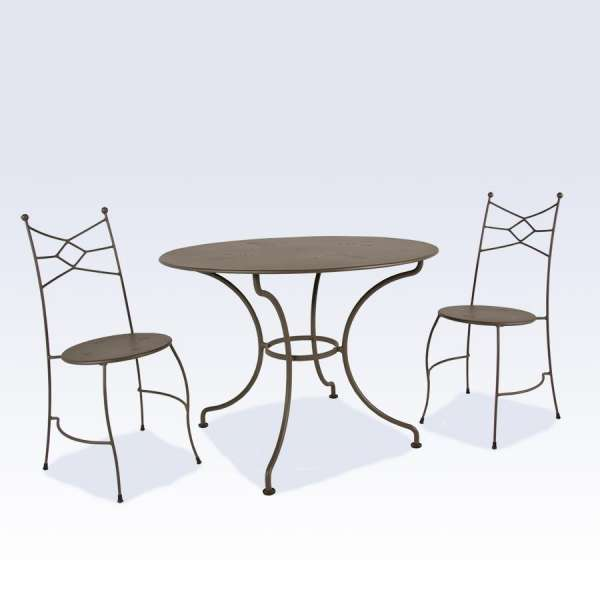 table de jardin ronde en m tal seringua 4 pieds tables chaises et tabourets. Black Bedroom Furniture Sets. Home Design Ideas