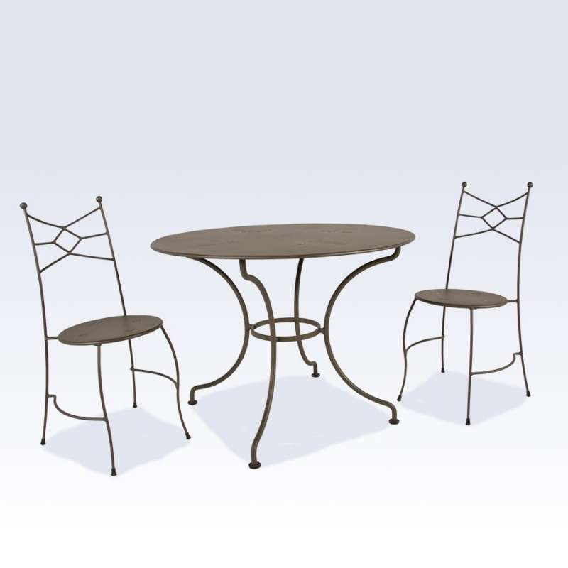table de jardin ronde en m tal seringua 4 pieds. Black Bedroom Furniture Sets. Home Design Ideas