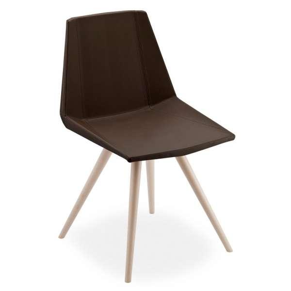 Chaise design en synthétique et bois - Glim 1161
