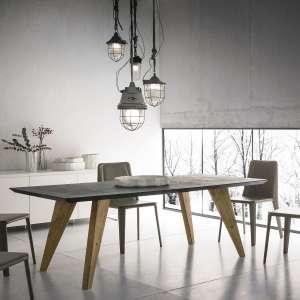 Table design rectangulaire en ecomalta et bois - Raw