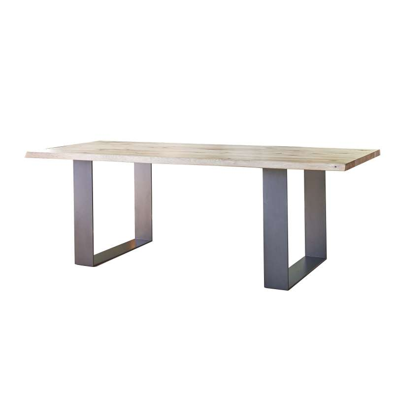 table de s jour esprit industriel extensible en ch ne massif et m tal oregon 4 pieds. Black Bedroom Furniture Sets. Home Design Ideas