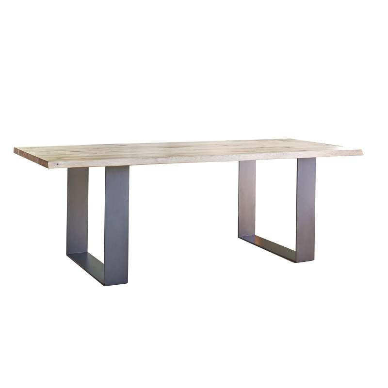 Table de s jour esprit industriel extensible en ch ne for Table massif extensible
