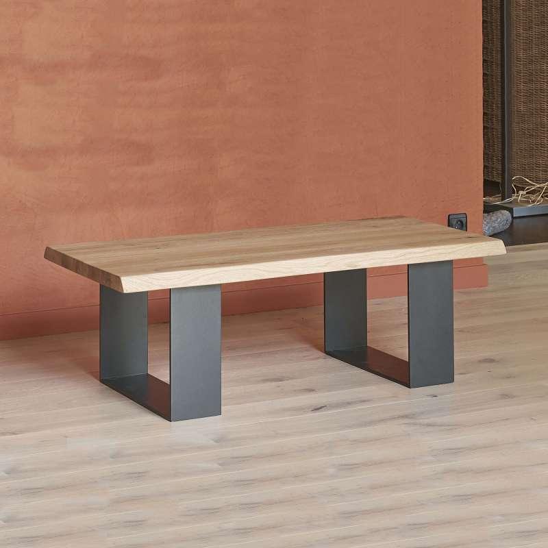table basse moderne style industriel en ch ne massif et m tal oregon 4 pieds tables. Black Bedroom Furniture Sets. Home Design Ideas