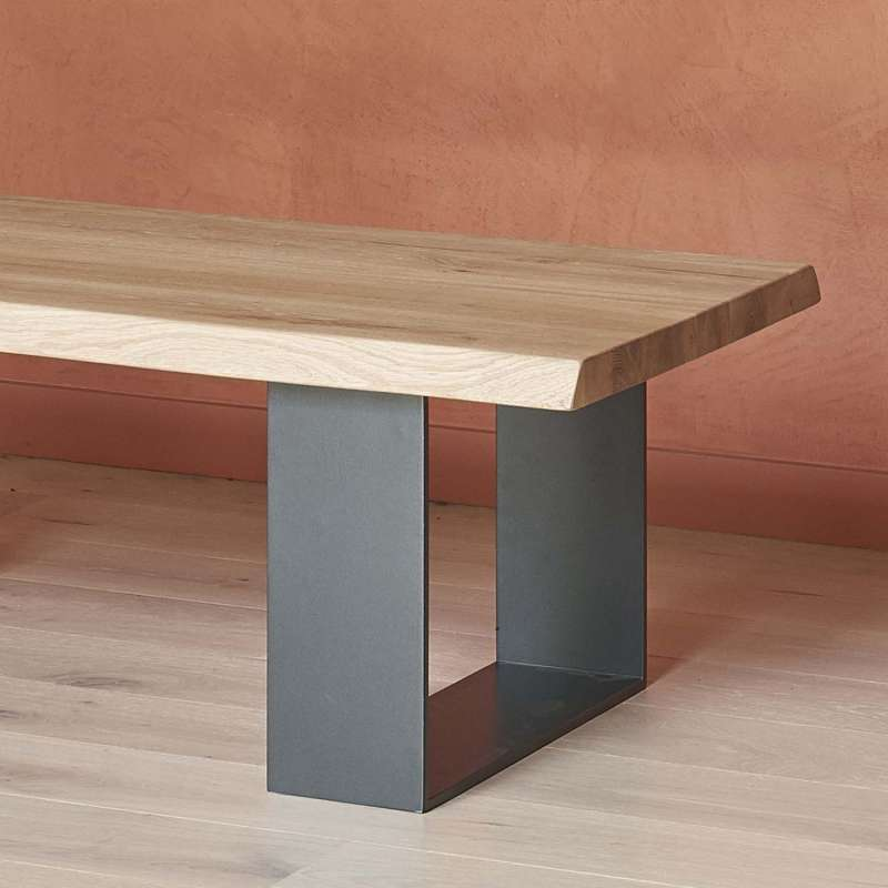 Table basse moderne style industriel en ch ne massif et m tal oregon 4 - Table salon moderne ...