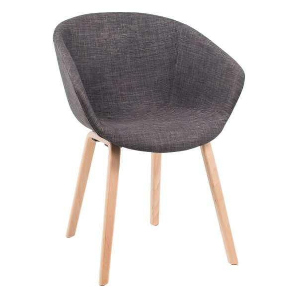 fauteuil moderne en tissu gris et bois naturel loona 4. Black Bedroom Furniture Sets. Home Design Ideas