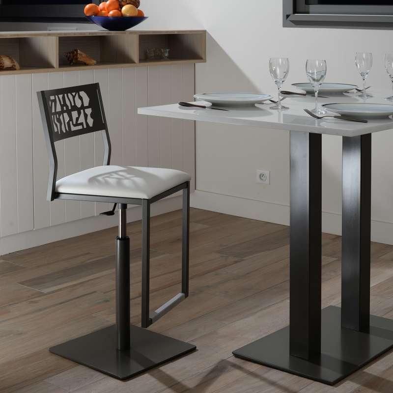 tabouret pivotant et r glable en hauteur style industriel slide 4 pieds tables chaises et. Black Bedroom Furniture Sets. Home Design Ideas