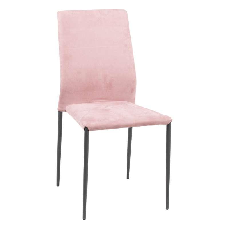 Chaise Moderne En Tissu Rose Aspect Nubuck Et Mtal