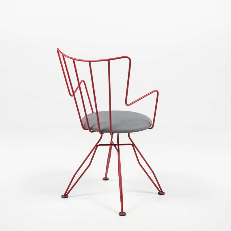 Chaise Design Rouge En Synthtique Et Mtal