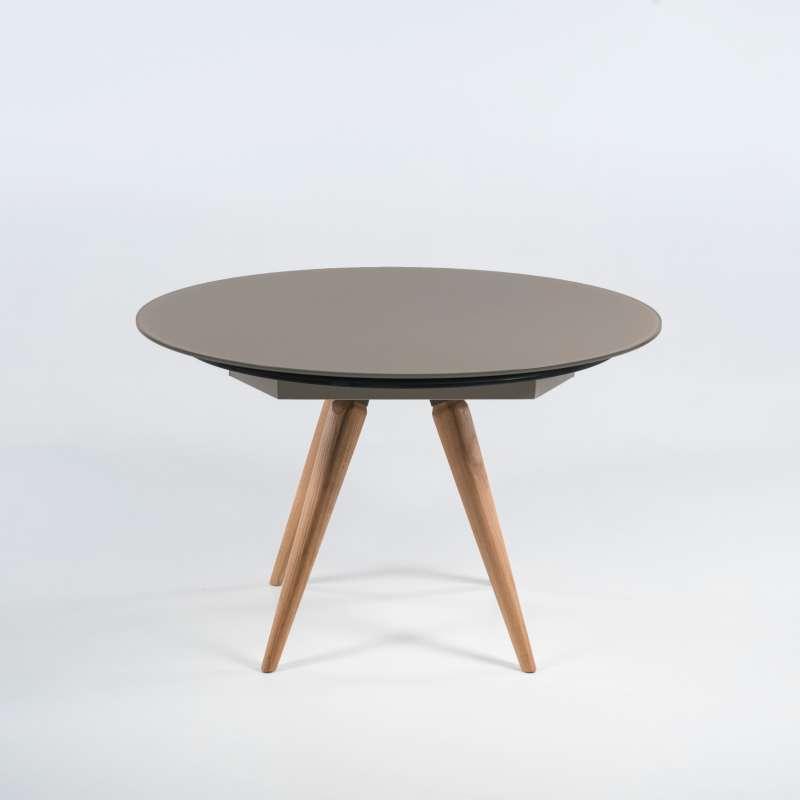 table ronde moderne en verre et bois avec allonges demi lune myles 4. Black Bedroom Furniture Sets. Home Design Ideas