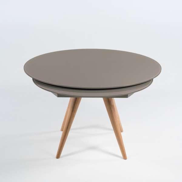 table ronde moderne en verre et bois avec allonges demi lune myles 4 pieds tables chaises. Black Bedroom Furniture Sets. Home Design Ideas