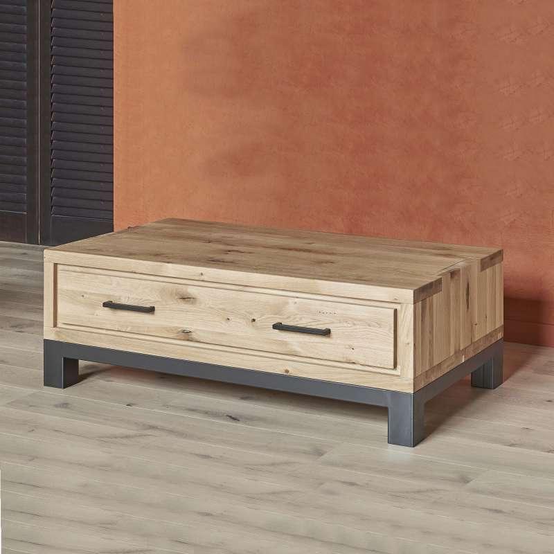 table basse moderne avec tiroir en ch ne massif et m tal. Black Bedroom Furniture Sets. Home Design Ideas