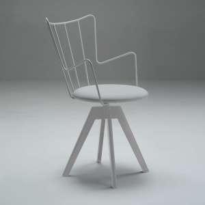 Chaise pivotante design en synthétique et métal assise blanche - Well