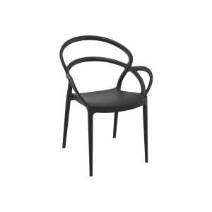 Fauteuil de jardin design en polypropylène noir - Mila