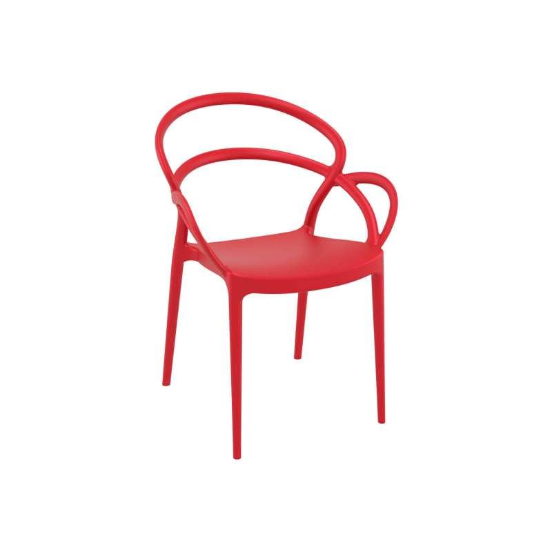 Fauteuil De Jardin Design En Polypropylne Rouge