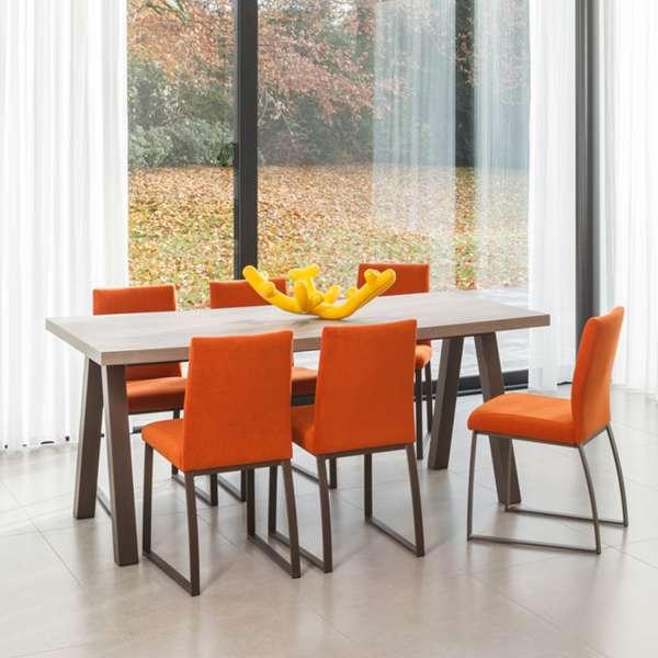 Table De Salle A Manger Rectangulaire Moderne En Stratifie Et Metal