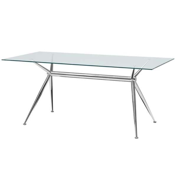 Table en verre design avec pieds en x m talliques brioso for Table en verre italienne